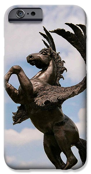 Clouds Sculptures iPhone Cases - Magic Horse iPhone Case by Caroline Czelatko