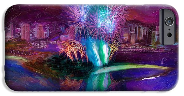 4th July iPhone Cases - Magic Island Fireworks iPhone Case by Patrick J Gallagher