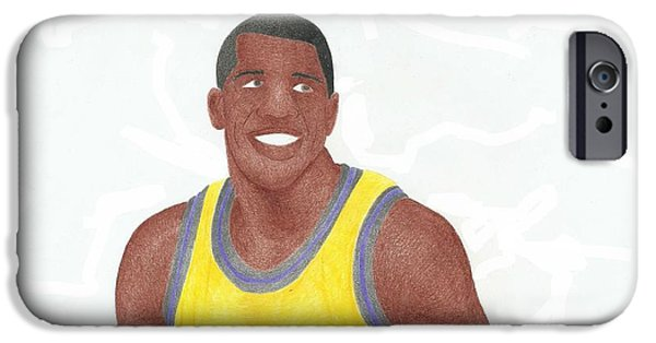 Magic Johnson Portrait iPhone Cases - Magic Johnson iPhone Case by Toni Jaso