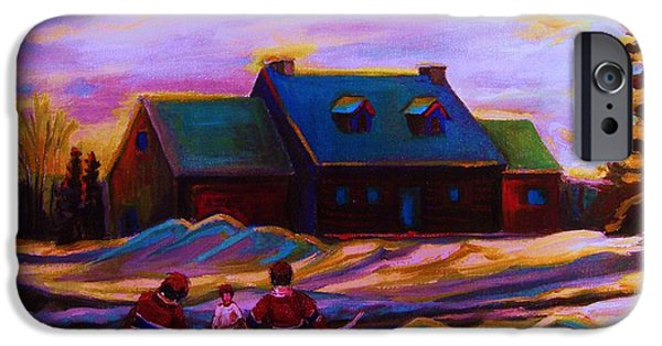 Afterschool Hockey Montreal Paintings iPhone Cases - Magical Day For Hockey iPhone Case by Carole Spandau