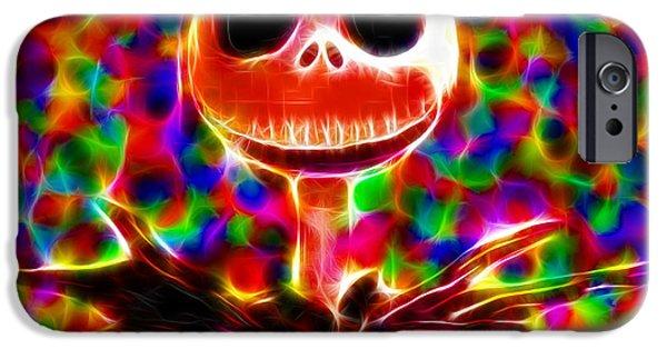 Mosaic Drawings iPhone Cases - Magical Jack Skellington iPhone Case by Paul Van Scott
