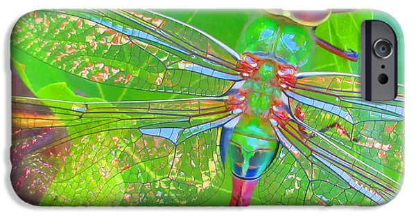 Grapevine Red Leaf iPhone Cases - Magnificent Dragonfly - Square Macro iPhone Case by Claudia  Ellis