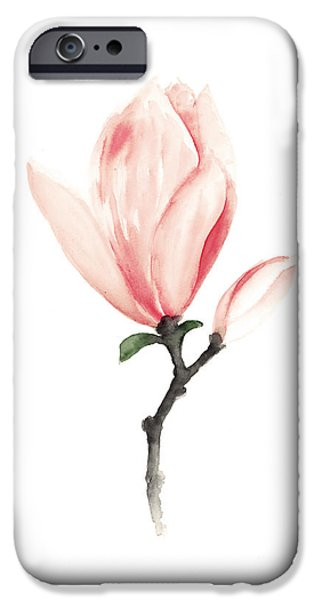 Abstracts Jewelry iPhone Cases - Magnolia pink flower watercolor art print iPhone Case by Joanna Szmerdt