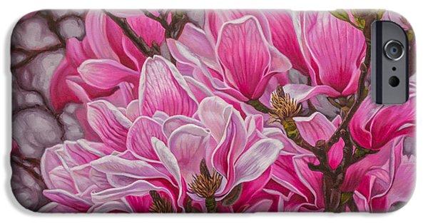 Flora iPhone Cases - Magnolias 1 iPhone Case by Fiona Craig