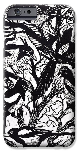 Crows Drawings iPhone Cases - Magpies iPhone Case by Nat Morley