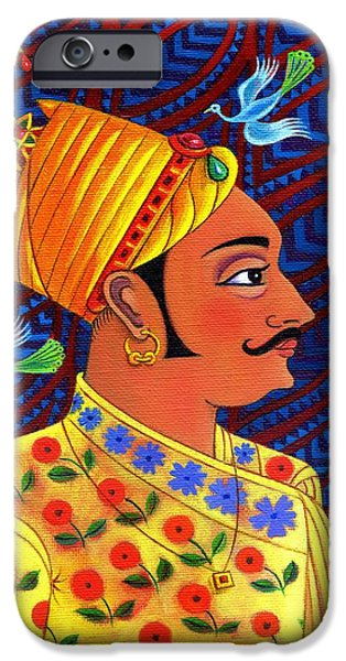 Border iPhone Cases - Maharaja with blue birds iPhone Case by Jane Tattersfield