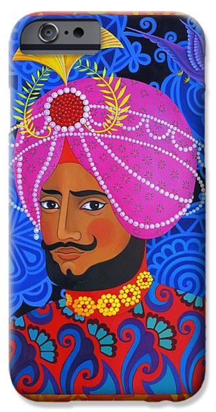 Border iPhone Cases - Maharaja with Pink Turban iPhone Case by Jane Tattersfield