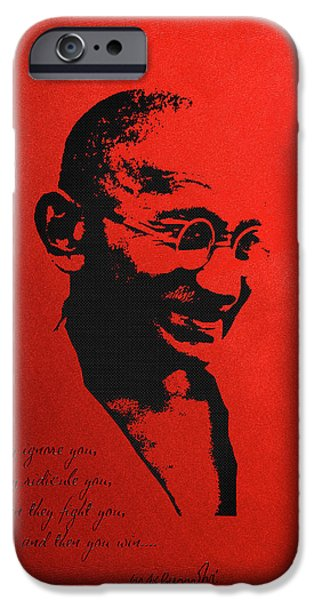 Ignored iPhone Cases - Mahatma Gandhi - First they ignore you... iPhone Case by Serge Averbukh
