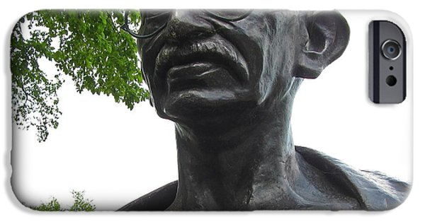People Sculptures iPhone Cases - Mahatma Gandhi iPhone Case by John Malone