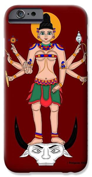 Hindu Goddess iPhone Cases - MahishaMardini iPhone Case by Pratyasha Nithin