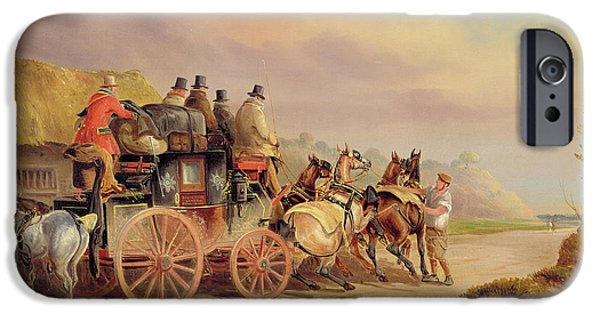 Pulling Paintings iPhone Cases - Mail Coaches on the Road - The Quicksilver  iPhone Case by Charles Cooper Henderson
