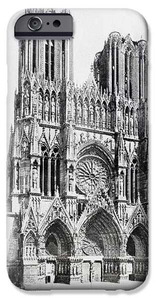 First Lady Drawings iPhone Cases - Main Facade Of Notre-dame De Reims  Our iPhone Case by Ken Welsh