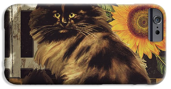 Maine Farms Paintings iPhone Cases - Maine Coon Farms iPhone Case by Mindy Sommers