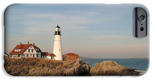 Rocky Maine Coast iPhone Cases - Maine Lighthouse iPhone Case by Alberta Brown Buller