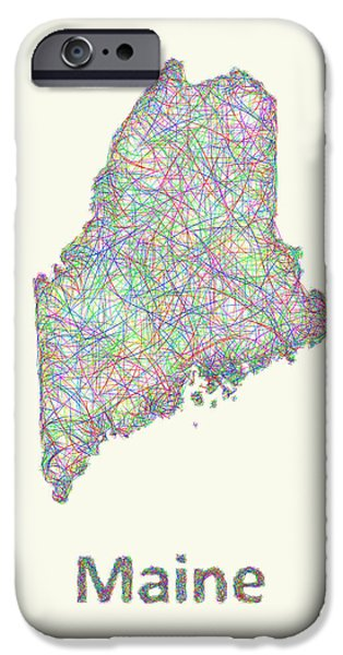 Maine Drawings iPhone Cases - Maine line art map iPhone Case by David Zydd