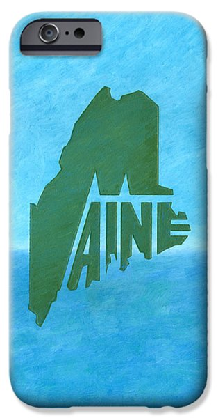 Maine Drawings iPhone Cases - Maine Wordplay iPhone Case by Dominic White