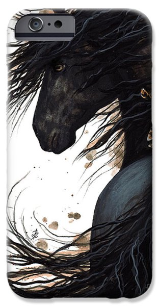Majestic iPhone Cases - Majestic Friesian 143 iPhone Case by AmyLyn Bihrle