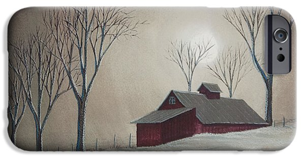New England Snow Scene iPhone Cases - Majestic Winter Night iPhone Case by Charlotte Blanchard