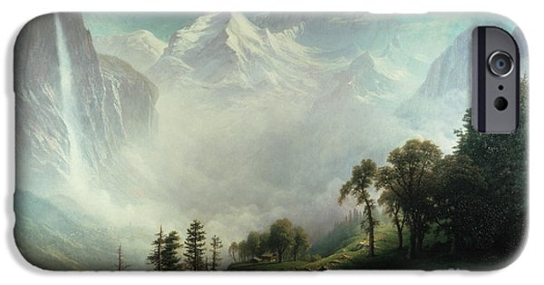 Destiny iPhone Cases - Majesty of the Mountains iPhone Case by Albert Bierstadt