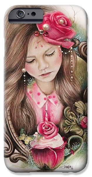 Innocence Mixed Media iPhone Cases - Make A Wish  iPhone Case by Sheena Pike