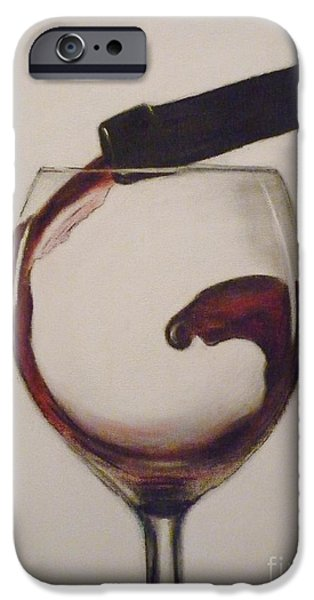 Wine Bottles Pastels iPhone Cases - Make Mine a Red Wine iPhone Case by Paul Horton
