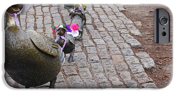 Boston Ma iPhone Cases - Make way for ducklings Boston Public Garden statues iPhone Case by Toby McGuire