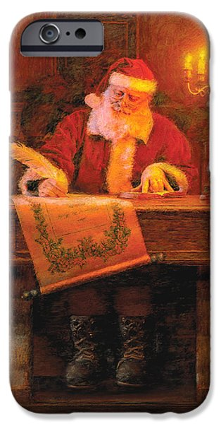 Santa iPhone Cases - Making a List iPhone Case by Greg Olsen