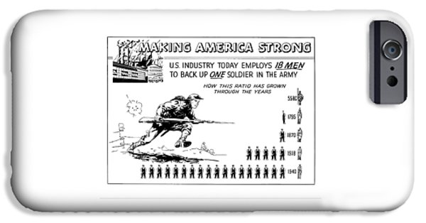 War Drawings iPhone Cases - Making America Strong Cartoon iPhone Case by War Is Hell Store