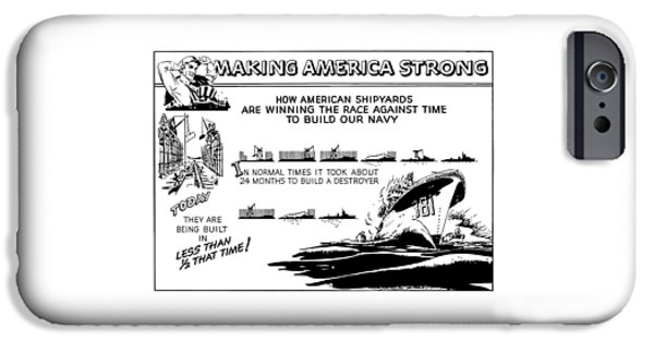 War Drawings iPhone Cases - Making America Strong WW2 Cartoon iPhone Case by War Is Hell Store