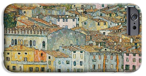 Reflecting Water Paintings iPhone Cases - Malcesine  Lake Garda iPhone Case by Gustav Klimt