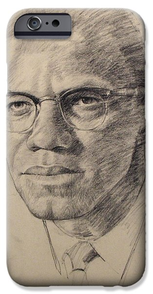African-american Drawings iPhone Cases - Malcolm X iPhone Case by Cliff Spohn