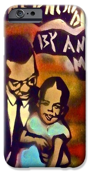 First Amendment Paintings iPhone Cases - Malcolm X Fatherhood 2 iPhone Case by Tony B Conscious