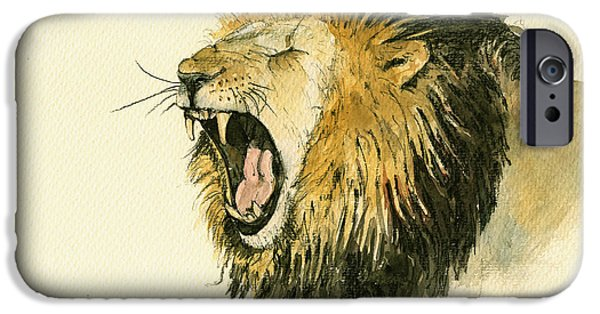 Safari Prints iPhone Cases - Male lion head painting iPhone Case by Juan  Bosco