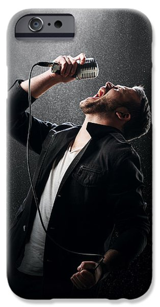 Caucasian iPhone Cases - Male Singer performing iPhone Case by Johan Swanepoel