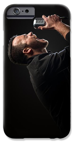 Caucasian iPhone Cases - Male Singer singing in mic iPhone Case by Johan Swanepoel