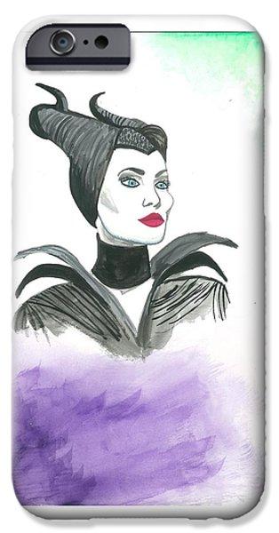 Creepy iPhone Cases - Maleficent  iPhone Case by Michelle Valladarez