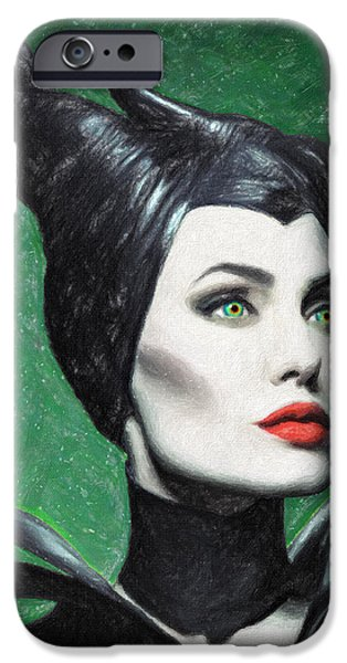 Portrait Of Evil iPhone Cases - Maleficent iPhone Case by Taylan Soyturk