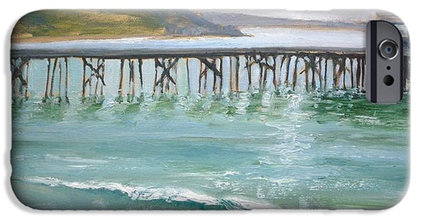 Malibu Paintings iPhone Cases - Malibu Pier iPhone Case by Sharon Weaver