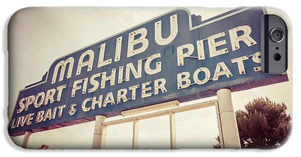 Malibu iPhone Cases - Malibu Sign Sport Fishing Pier Picture iPhone Case by Paul Velgos