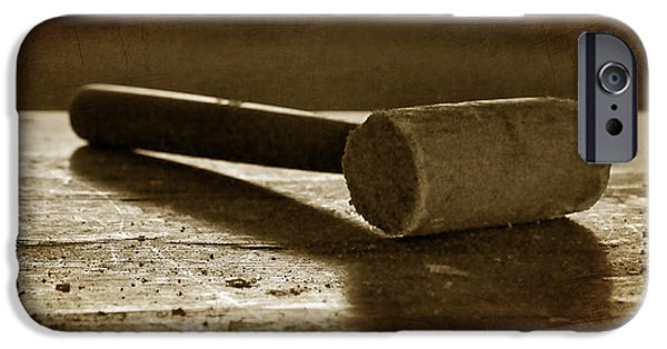 Work Tool iPhone Cases - Mallet - Wooden Hammer iPhone Case by Nikolyn McDonald