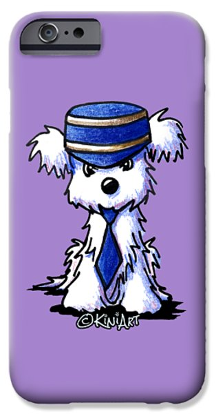 Kim Drawings iPhone Cases - Maltese Conductor iPhone Case by Kim Niles
