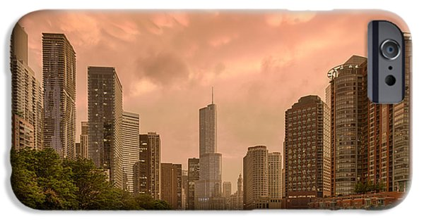 Wrigley iPhone Cases - Mammatus Cloud Action Over Chicago River - Chicago Illinois iPhone Case by Silvio Ligutti