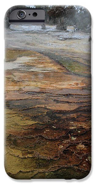 Out Of This World iPhone Cases - Mammoth hot springs in Yellowstone National Park iPhone Case by Pierre Leclerc Photography
