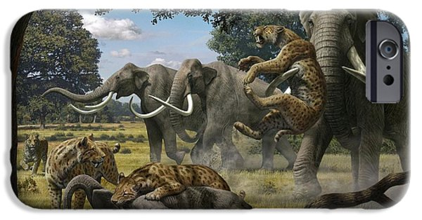 Elephant iPhone Cases - Mammoths And Sabre-tooth Cats, Artwork iPhone Case by Mauricio Anton