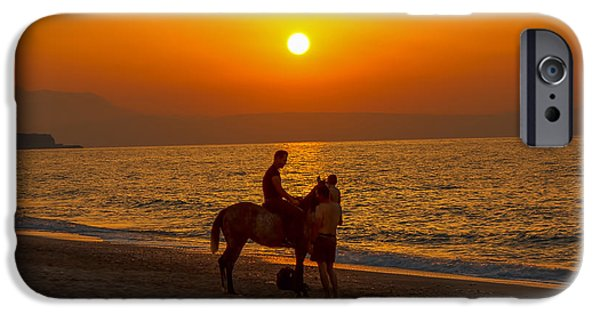 The Horse iPhone Cases - Man And Horse With Sunset In Crete Island iPhone Case by Fineart Photographs