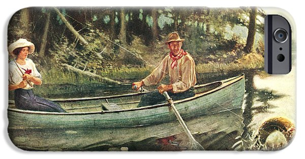 Paddle iPhone Cases - Man and Woman Fishing iPhone Case by JQ Licensing