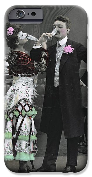 Akimbo iPhone Cases - Man And Woman In Vintage Party Clothes iPhone Case by Gillham Studios