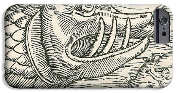 Serpent iPhone Cases - Man Being Eaten By A Sea Serpent iPhone Case by Ken Welsh