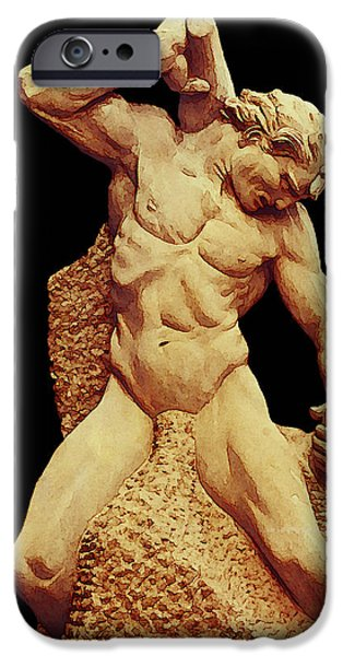 Destiny iPhone Cases - Man Carving His Own Destiny iPhone Case by Jean Connor