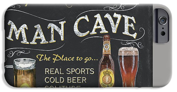 Pitcher iPhone Cases - Man Cave Chalkboard Sign iPhone Case by Debbie DeWitt
